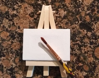 Easel and Canvas, Wooden, Miniature Size, Blank Canvas, Display Easel, Weddings, Table Numbers, Mini Sign Display, Painting Party