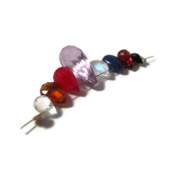 Gemstone Briolette Mix, 8 Beads, Spinel, Hessonite, Crystal, Garnet, Lapis, Moonstone & Pink Amethyst Beads for Making Jewelry (B-Mix7)
