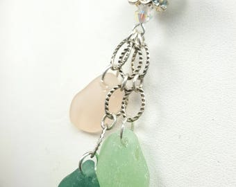 Sea Glass Necklace Sea Glass Jewelry Aqua Teal Peach Sea Glass Necklace Chandelier Necklace Sterling Silver N-518