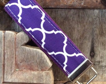 Beautiful Key Fob/Keychain/Wristlet- White Quatrefoil On Purple-READY TO SHIP