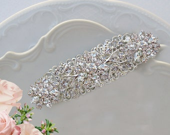 Wedding Accessories, Bridal hair piece, wedding hair Clip, Bridal Head Piece, Crystal Barrette, wedding hairpiece, Large hair clip