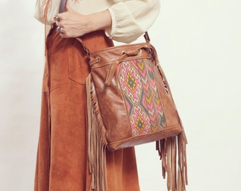 Boho Fringe Bag. Leather Crossbody. Boho Chic Bag.  Leather Fringe Bag. Moroccan Bag. Kilim Bag. Ready to Ship. Festival Fashion.