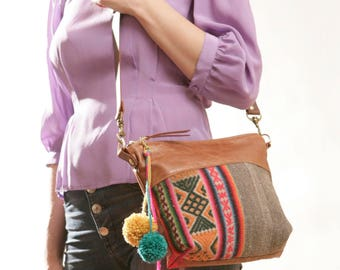 Boho Day Bag, Tribal Crossbody Bag, Boho Crossbody, Boho Ethnic Bag, Boho Chic Bag, Small Leather Crossbody, Small Ethnic Purse