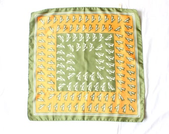 1970's Penguin Scarf in Marigold and Olive . Made in Italy, Polyester . Neckerchief . Square
