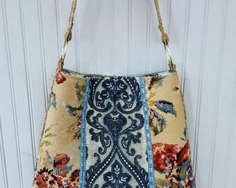 Pretty spring  floral bag crossbody applique  bag