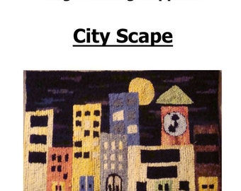 Cityscape Primitive Rug Hooking Pattern by Paper, Monks Cloth, or Primitive Linen