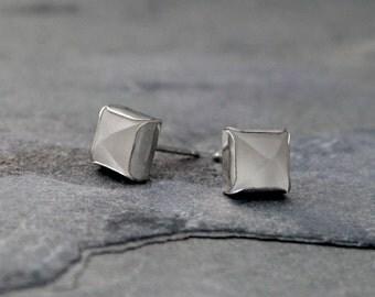 Moonstone Pyramid Stud Earrings, Sterling Silver, Square Geometric Modern Contemporary, White Moonstone Gemstone Jewel, Post Jewelry Studs