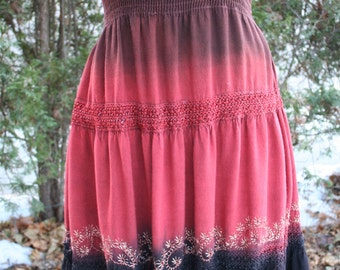 Red and black tie dye hippie tube top sundress India embroidered