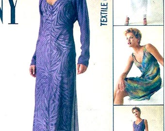 Bias slip dress shrug attached slip New York Collection evening or day summer McCalls 9337 sewing pattern Sz 4 to 8 UNCUT
