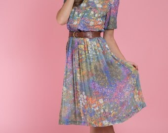 Vintage Dreaming Of Spring Floral Pleated Dress (Size Small/Medium)