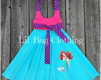 Ariel Little Mermaid Halter Summer Dress, Little Mermaid Birthday Dress, Purple Aqua Little Mermaid HalterDress,
