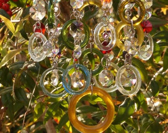 Unique Wind Chimes - Suncatcher - OOAK Gift For Her, Anniversary, Birthday, Wedding, Housewarming, Circles arcobaleno