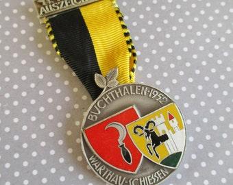 SALE Vintage Swiss Shooting Medal Buchthalen 1952