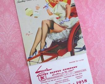 Vintage Gil Elvgren Pin-up Advertising Calendar - September 1958