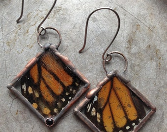 Monarch Butterfly Wing Real Insect Onyx Copper Witchy Earrings