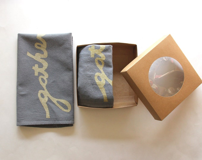 Grey and Gold Gather Cloth Napkins