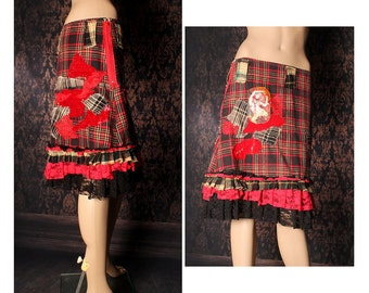 Red Plaid Skirt. grunge flannel skirt, Punk Rock winter skirt, patchwork Gothic Lolita ruffle skirt, Cosplay a line skirt, knee length
