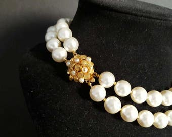 Vintage Two Strand Pearl Necklace with Ornate Gold Clasp {Bridal Statement Necklace 2 Strands Rows Pearl Collar}