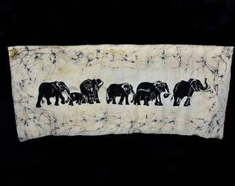 ELEPHANTS On The MOVE Vintage African BATIK Fabric Artist Signed