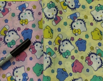 Hello Kitty and Bunny 100% cotton  fabric