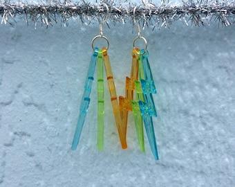 Blue + Green + Orange Lightning Bolt Earrings w/ silvery hooks