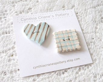 2 Large Handmade Clay Buttons, Striped Heart and Plaid Square, Blue Brown and Tan