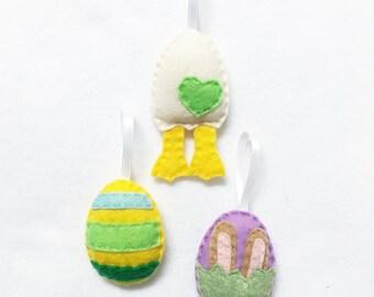 Easter Egg Ornament Set of 3, Spring Ornament, Felt Ornament, Felt Hand Stitched Decor
