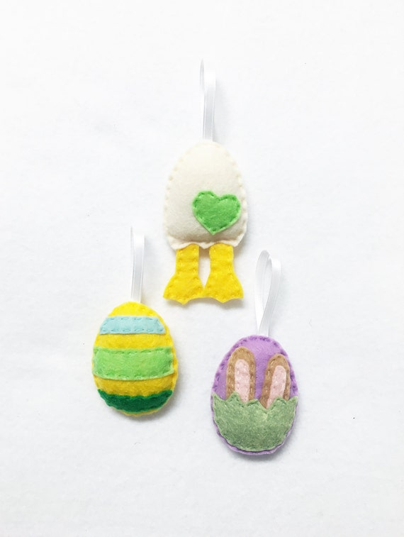 Easter Egg Ornament Set of 3, Spring Ornament, Felt Ornament, Felt Hand Stitched Decor