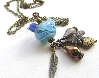 Partridge In A Pear Tree Pendant, Pale Blue Bird Necklace, Brass Chain Necklace 18 Inches, Bluebird Pendant