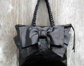 RESERVED for Andrea Black Distressed Medium Bow Bag by Stacy Leigh Charge for Upsize