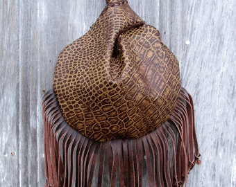 Wristlet in Reptile Embossed Leather with Knotted Fringe by Stacy Leigh