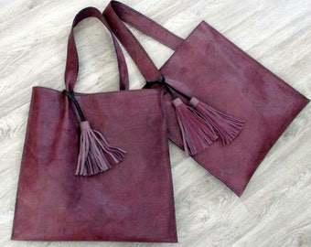 Plum Italian Leather Flat Bag II by Stacy Leigh