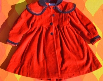 vintage 80s girl's coat ROTHSCHILD christmas red wool embroidered yoke velvet trim 6 Small