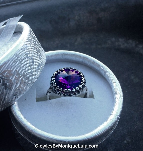 Amethyst Swarovski Crystal Adjustable Victorian Ring Magic Jewelry