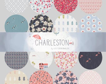 Charleston Fat Quarter Bundle - by Amy Sinibaldi for Art Gallery Fabrics - complete quilting cotton collection, 16 prints