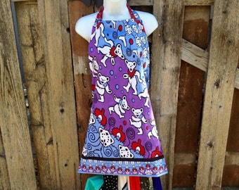 Grateful dead Apron,Grateful Dead Baking aprons, Dancing bear aprons, Bertha Apron, cooking aprons,  hippie holiday gifts
