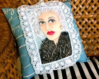 new..VANESSA SOFA PILLOW, hand painted, French pillow, Paris, silver hair, gift for her, decorative pillow, lace, French blue, older woman