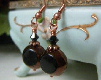 Black and Bronze Earrings on Copper, Czech Glass Dangle, Black and Copper Earrings, Table Cut Czech Glass Beads, Glass Dangle Earrings