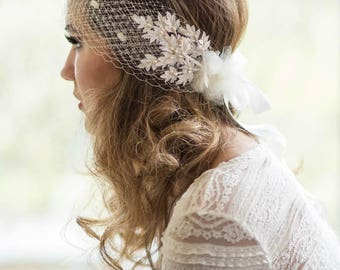 Ivory Bridal Veil Headband wedding, hair bandeau