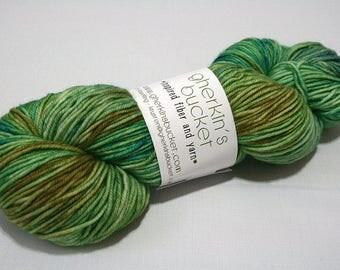 Hand Dyed Artisan Yarn, Tonal Kettle Dyed Yarn, Contrast Splash Yarn, SW Merino Wool DK, Vegetate #12017