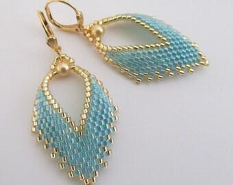 Russian Leaf Earrings - Aqua Rainbow