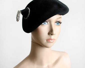 Vintage 1950s Hat - Black Felt Dewdrop Hat with Rhinestone Dangle Tassle and Point - Norman Durand - Maud Roser