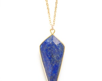 Lapis Lapis Dagger Arrowhead Gold Vermeil Bezel Stone Necklace - Gold Plated or 14k Gold Filled Chain