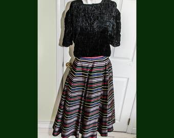 Vintage 1950's Rockabilly Rainbow Colored Striped Satin Skirt