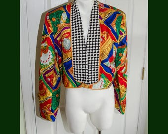 Vintage 1980's Woman's Silk Print Cropped Jacket