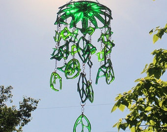 Shades of Green Fused Glass Dangling Suncatcher Abstract Shapes and Leaves Mobile Windchime