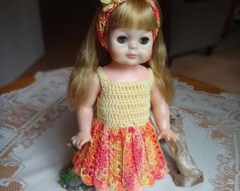 Crochet Vogue 14 15 inch Littlest Angel doll Dress Flared Skirt Shoes Panty Headband Yellow orange Sherbet Butterfly