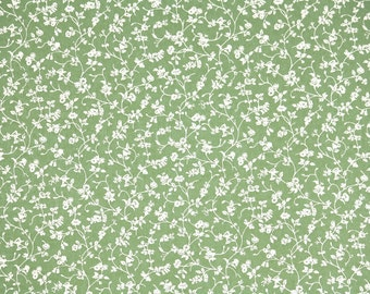 1970s Vintage Wallpaper by the Yard - Laura Ashely Green and White Floral Chintz