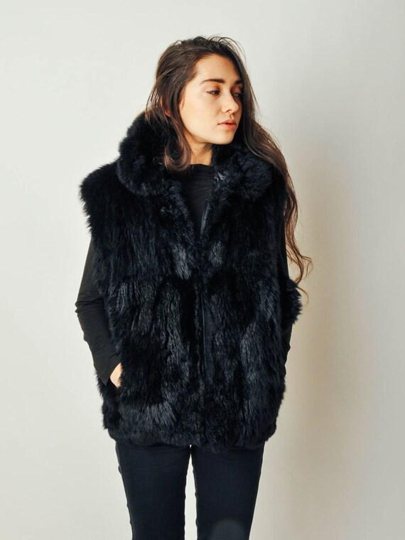 Vintage Black Fur Vest