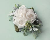 White rose hair clip, floral bridal headpiece, White and sage hair clip, Woodland bridal hair, Succulent hair clip, Artificial flower clip